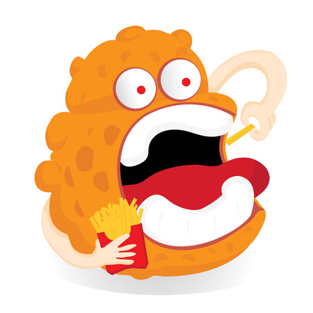 starving: germ monster Cartoon eating french fries.