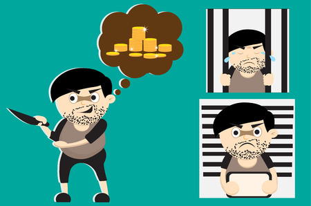 prisoner of the money: criminal cartoon