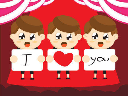 boys cartoon i love you for valentines day Vector