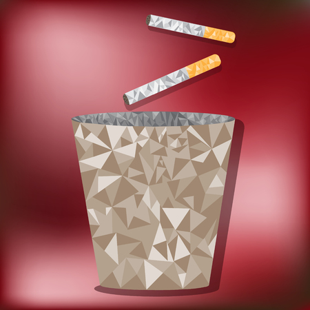 low poly Disposable cigarette bins Vector
