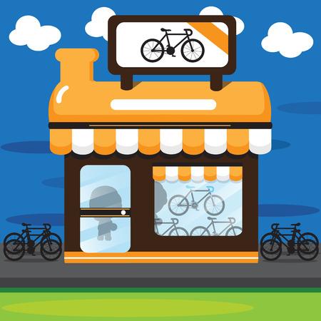 orange bike stoe Illustration