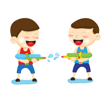 Two boys are playing with a water gun