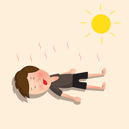 hot weather: He lost consciousness because of the hot sun Illustration