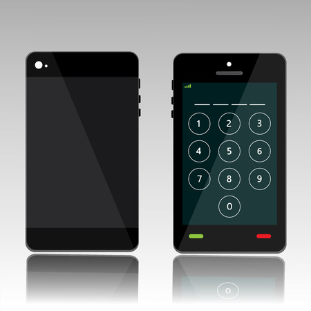 tapping: password on black phone Illustration