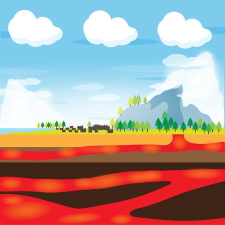 lava: lava and snow mountain