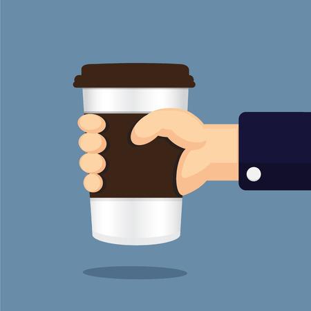 mano cartoon: vetro caff� in cartone animato mano Vettoriali