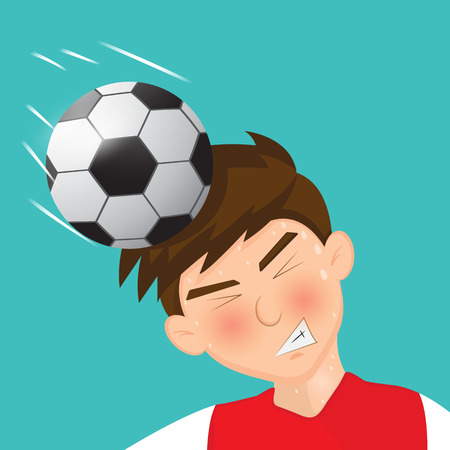 heading the ball: soccer player With head clearance