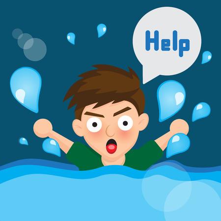 drowned: Cartoon boy drowned Illustration