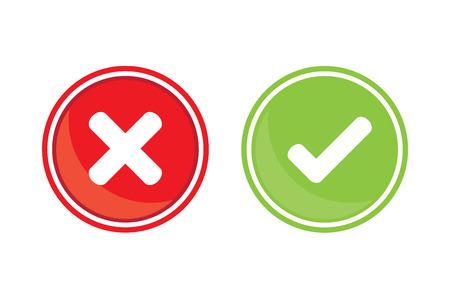 garrapata: Compruebe y marca equivocada Vectores