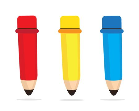 red and blue: red , blue , yellow pencil cartoon Illustration