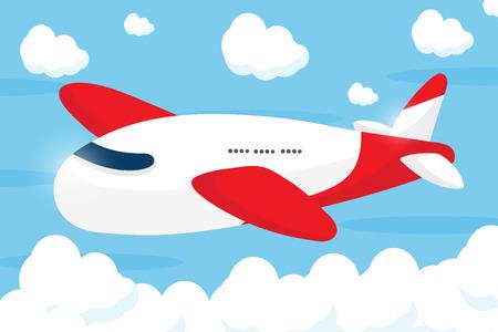 mosca caricatura: diseño de dibujos animados avión rojo Vectores