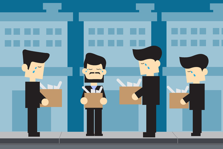 dismissed: MEN unemployed cartoon design Illustration