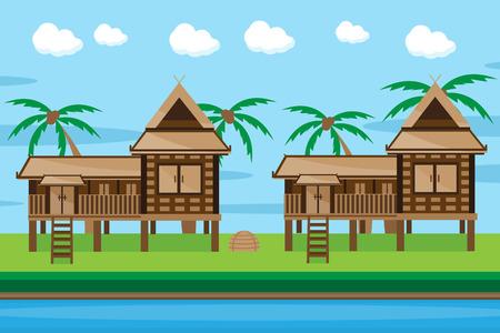 Thai house design Ilustração