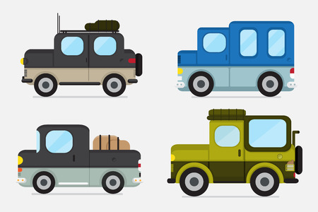 pick up: Illustrations of jeep and pick up truck