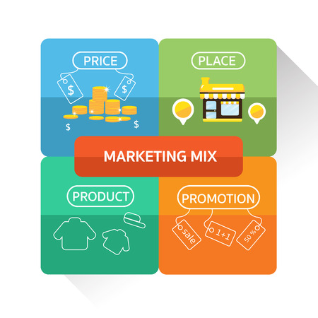 4p: Vector : marketing mix infographic design for business