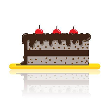 gateau: torta al cioccolato su bianco
