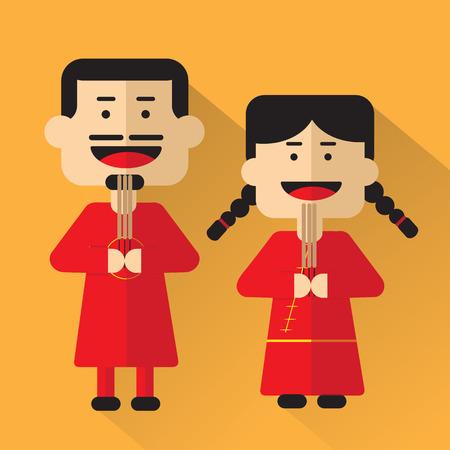 desing: china people cartoon flat desing Illustration