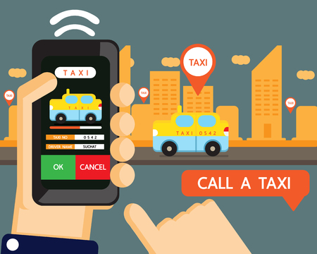yellow cab: Vector : taxi application , call taxi by hand phone