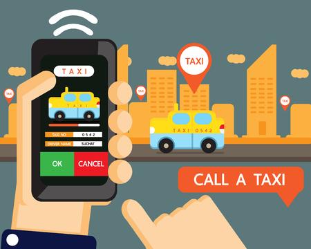 servicios publicos: Vector: aplicación taxi, llamada de taxi por teléfono mano
