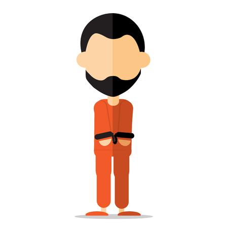 inmate: vector : prisoner cartoon design Illustration