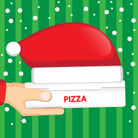 Pizza delivery  for christmas. 向量圖像