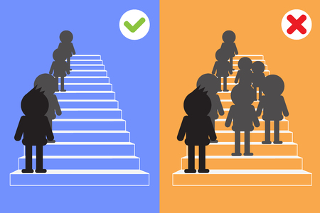 woman stairs: walking up the stairs. Illustration