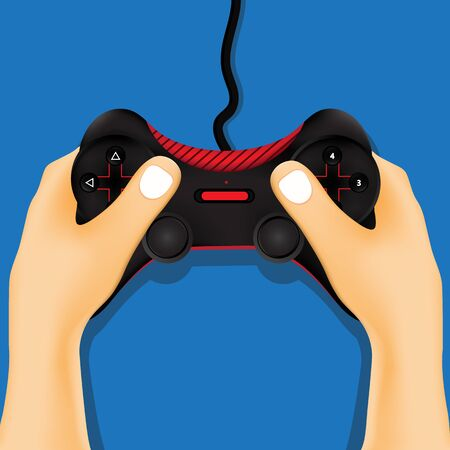 hand holding: Hand holding game controller. Illustration