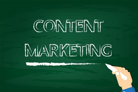 green board: Content marketing on green board.