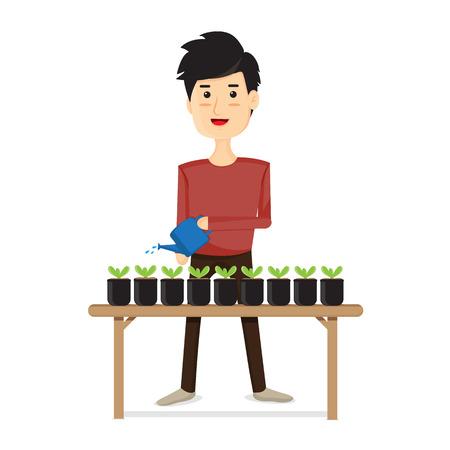 regar las plantas: Hombres regar las plantas.