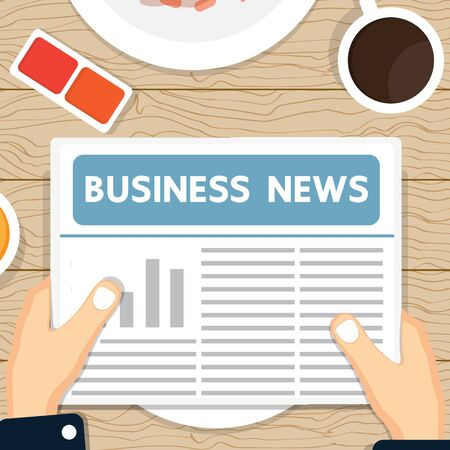 news paper: Business news paper on the table. Illustration