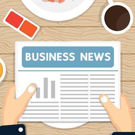 good break: Business news paper on the table. Illustration