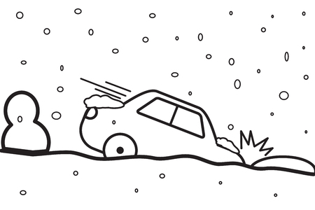 Car accident vector line easy design.