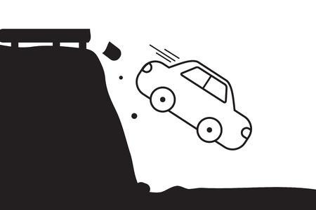 abyss: Abyss car crash easy design. Illustration