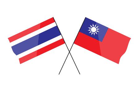 Thaïlande drapeau et taiwan drapeau conception facile.