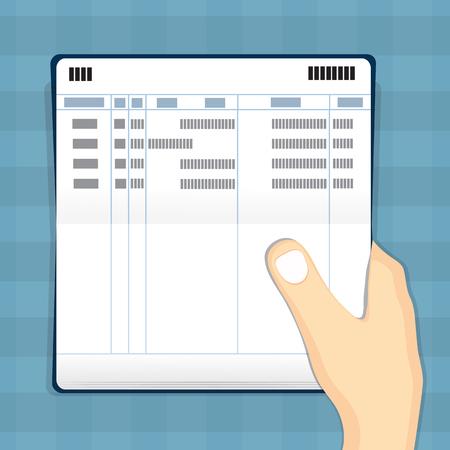 Hand holding passbook . Illustration