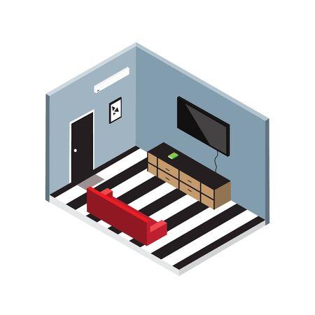 living room design: Isometric living room vector design.