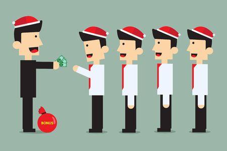 christmas bonus for  employees. vector design for christmas event.