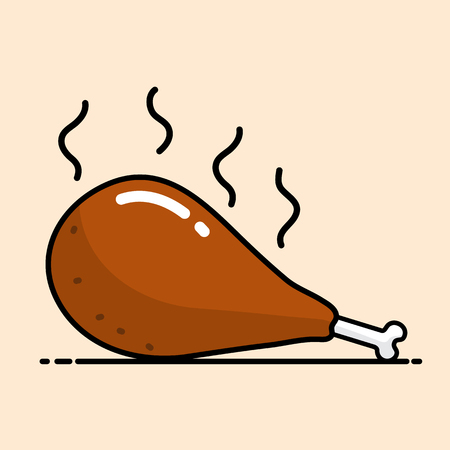 Chicken Drumstick vector cartoon design.