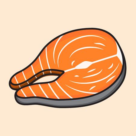 salmon fillet: fish meat vector food design.