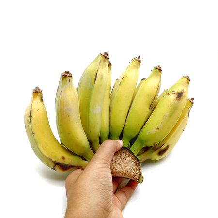 Cultivated Banana Hands on white background.