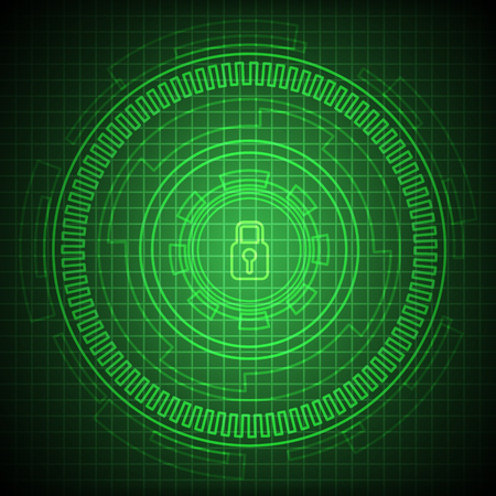 Security lock on digital screen Illustration