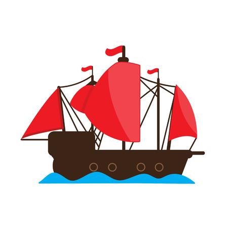 barque: Chinese junk ship . vector cartoon design.