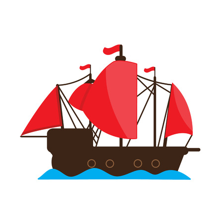 Chinese junk ship . vector cartoon design.