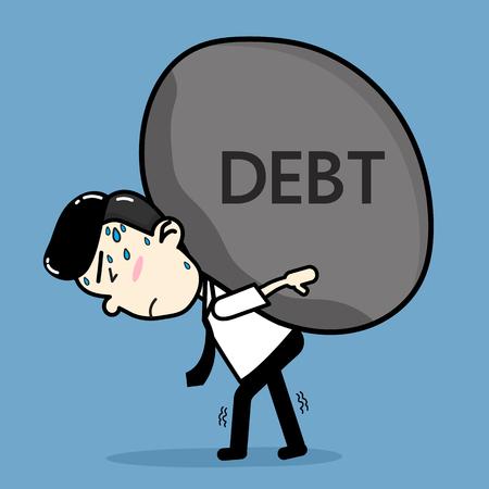 Bedrijfs mannen met schulden. cartoon vector ontwerp Stock Illustratie