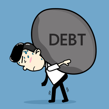 Business men bearing debt . cartoon vector design