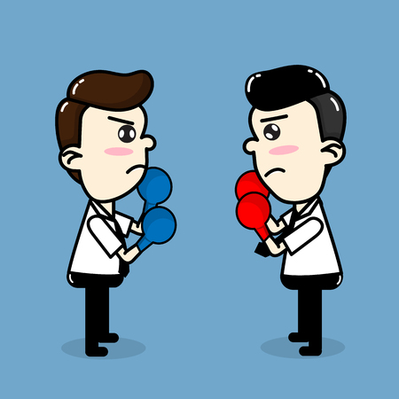 Employees compete , Business man boxing fighting vector cartoon business design. Illustration