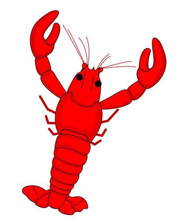 Red Shrimp vector cartoon design.