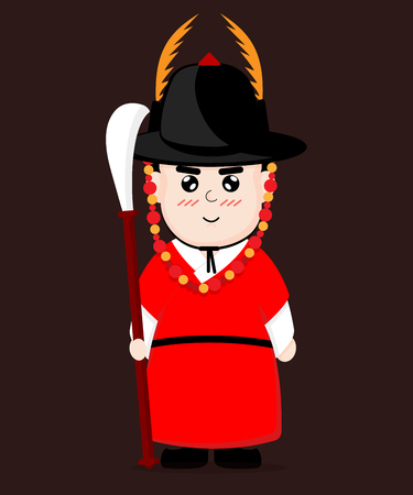 Traditional Korean guard vector cartoon design. Illustration