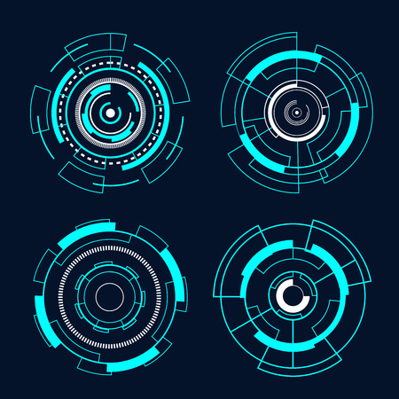 サークル未来的インターフェイス技術 hud ベクターデザイン。