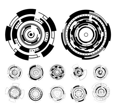 Schnittstelle-Technologie hud Vektordesign des schwarzen Kreises futuristische. Standard-Bild - 86695222